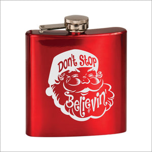 Don't Stop Believing Santa Flask - Black Dog Engraving