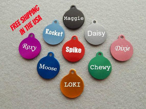 Engraved EXTRA SMALL Round with Tab Dog or Cat Pet ID Tag