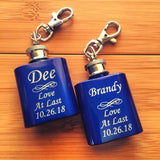 Engraved Single Shot Mini Flask Key Chain Personalized for Bridesmaids - Black Dog Engraving