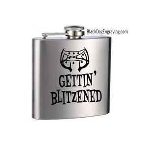 Get Blitzened Holiday Engraved Flask - Black Dog Engraving