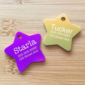 LARGE Engraved Star Pet Tag