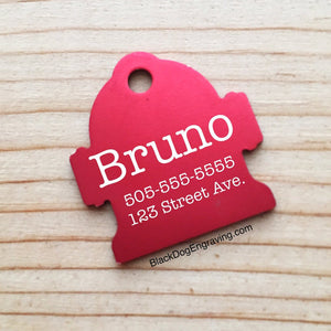 LARGE Hydrant Dog Pet ID Tag - Black Dog Engraving