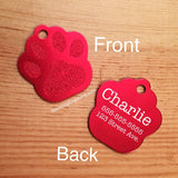 LARGE Paw Print Dog Tag - Black Dog Engraving