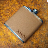 Laser Engraved Monogram Faux Leather Wrapped Flask - Black Dog Engraving