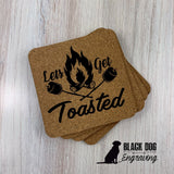 Let's Get Toasted Square Cork Coasters (set of 4) - Black Dog Engraving