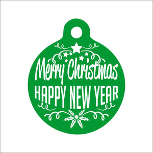 Merry Christmas Happy New Year Dog Tag - Black Dog Engraving