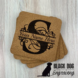 Monogrammed Cork Coasters (set of 4) - Black Dog Engraving