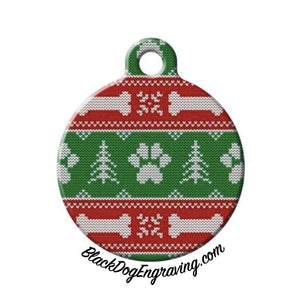 Paw Print Ugly Christmas Sweater Engraved Pet ID Tag - Black Dog Engraving