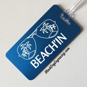 Personalized Beach'in Vacation Aluminum Luggage Tag