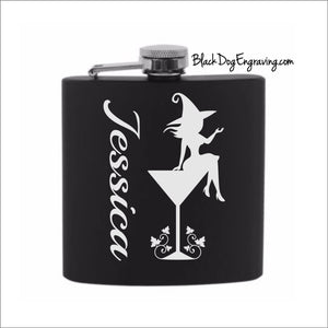 Personalized Cocktail Witch Halloween Flask with Vertical Name - Black Dog Engraving