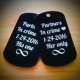 Personalized Couples Dog Tag with Chain - Set of 2 - Black Dog Engraving