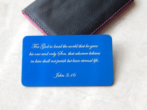 Personalized Inspirational Verse Aluminum Wallet Card - Black Dog Engraving