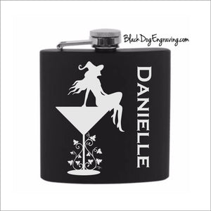 Personalized Martini Witch Halloween Flask with Vertical Name - Black Dog Engraving