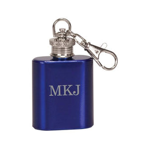 Personalized Monogram Laser Engraved Single Shot Mini Flask Key Chain - Black Dog Engraving