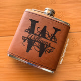 Personalized Monogram Name Faux Leather Wrapped Flask - Black Dog Engraving