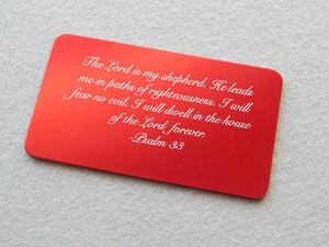 Personalized Psalm Bible Verse Quote Aluminum Wallet Card - Black Dog Engraving