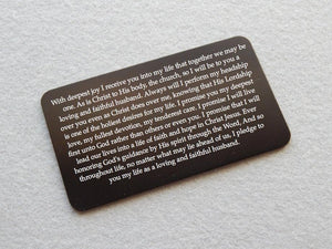 Personalized Wedding Vows Aluminum Wallet Card - Black Dog Engraving