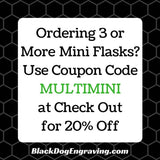 "Single Shot Mini Flask Key Chain ""Monday Medicine"" - Black Dog Engraving"