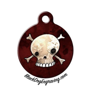 Skull Engraved Pet ID Tag