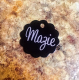 Small Cloud Pet Tag - Black Dog Engraving