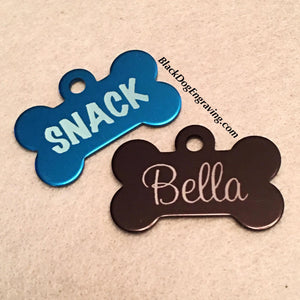 Small Dog Bone Dog Tag - Black Dog Engraving