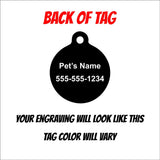 Snowman Christmas Holiday Engraved Pet ID Tag - Personalized Engraved Dog Tag - Cat Tag - Black Dog Engraving