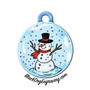 Snowman Christmas Holiday Engraved Pet ID Tag - Personalized Engraved Dog Tag - Cat Tag