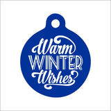 Warm Winter Wishes Dog Tag - Black Dog Engraving