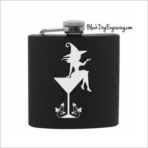 Witch on Cocktail Glass Halloween Flask - Black Dog Engraving