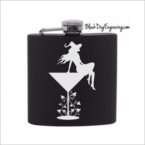 Witch on Martini Glass Halloween Flask - Black Dog Engraving