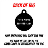 Yin Yang Dog Paw Tag - Black Dog Engraving