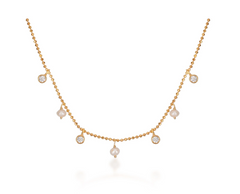 Hanging Pearls and Stones Choker - Yellow Gold