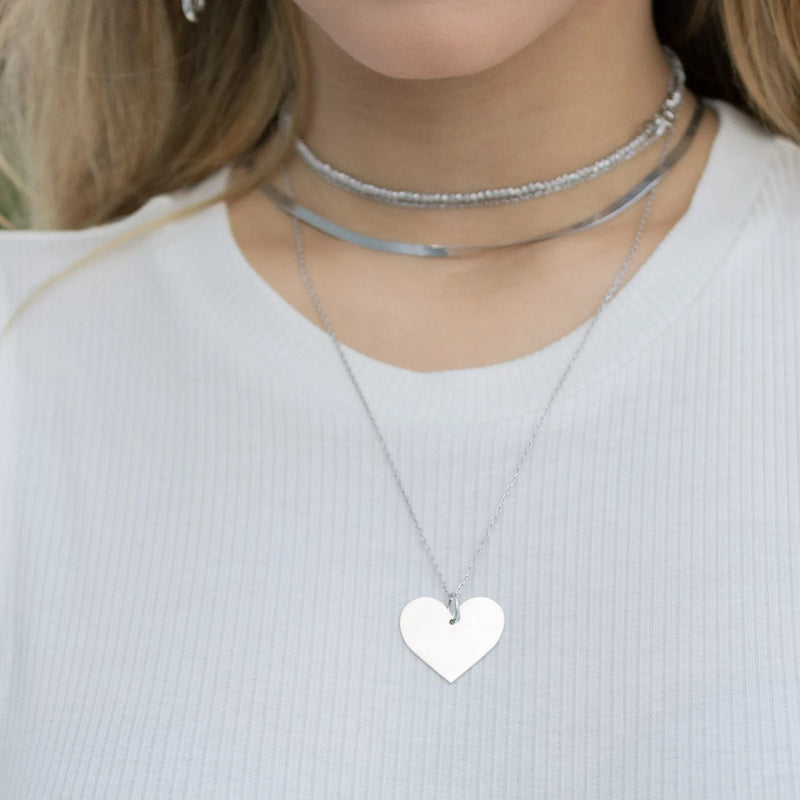 Long Necklace with Heart - Silver - Golden Tangerine