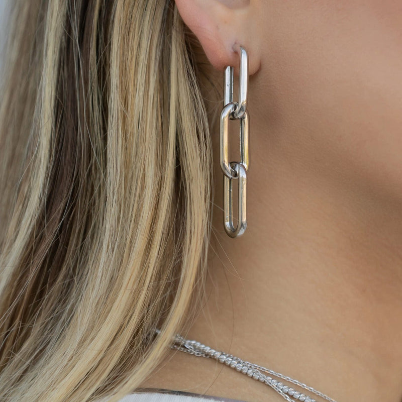 Chunky 3 Link Earring - Silver
