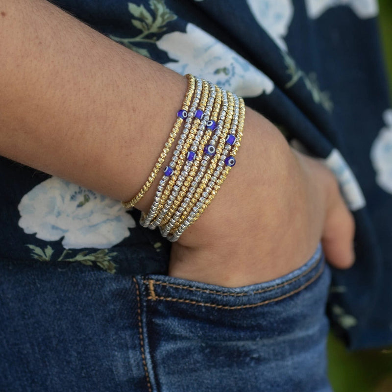 Bead Bracelet with Evil Eye - Yellow Gold and Navy