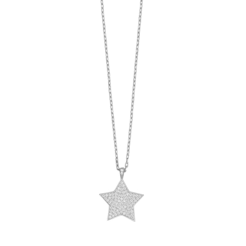 Pave Star Necklace - Silver