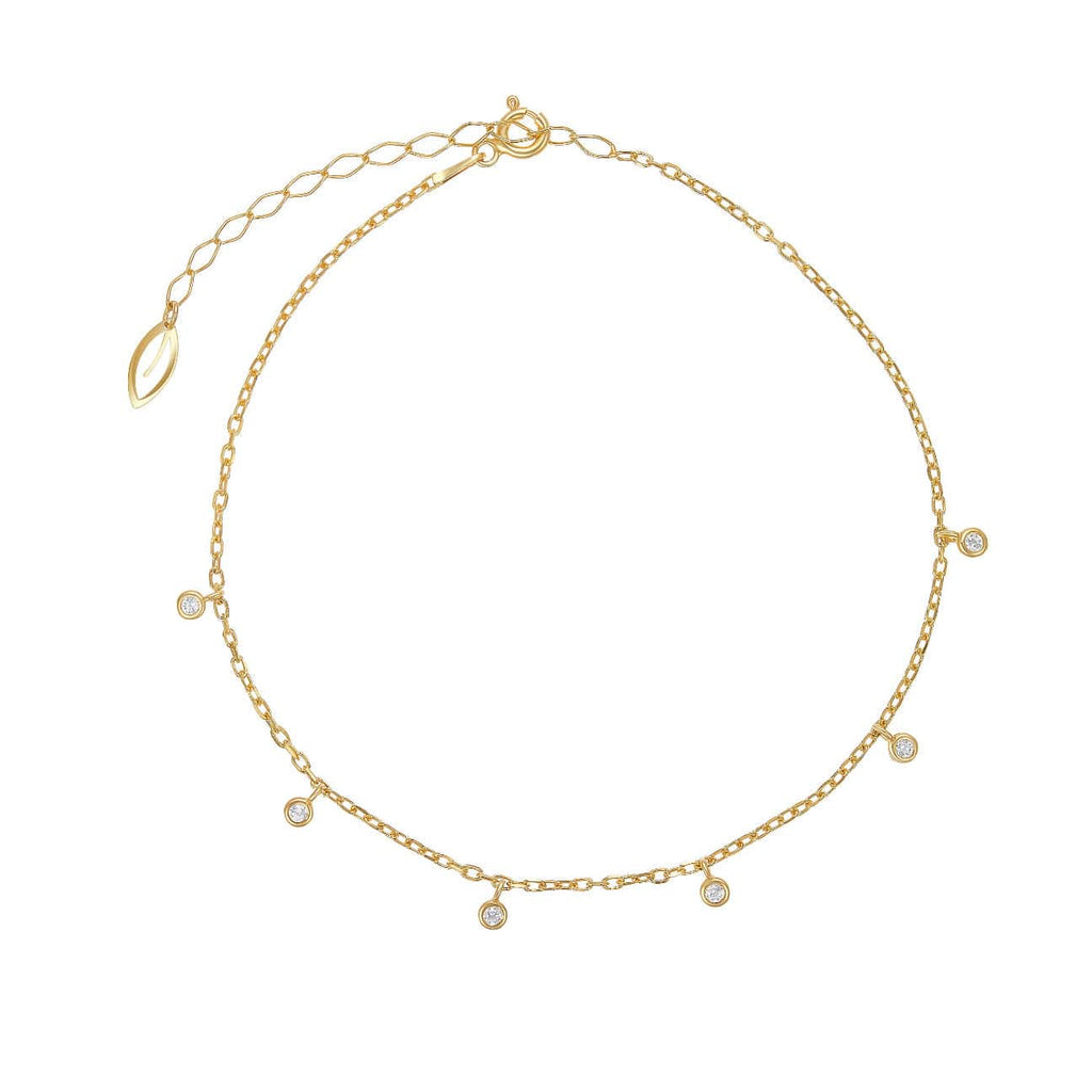 Anklet with Hanging Stones Charms - Yellow Gold