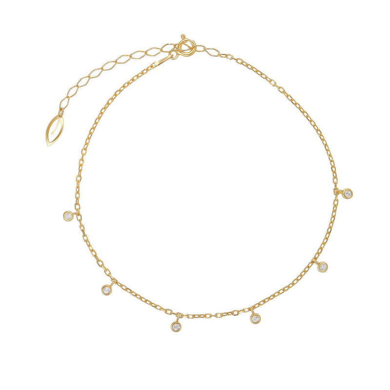 Hanging Stones Anklet - Yellow Gold