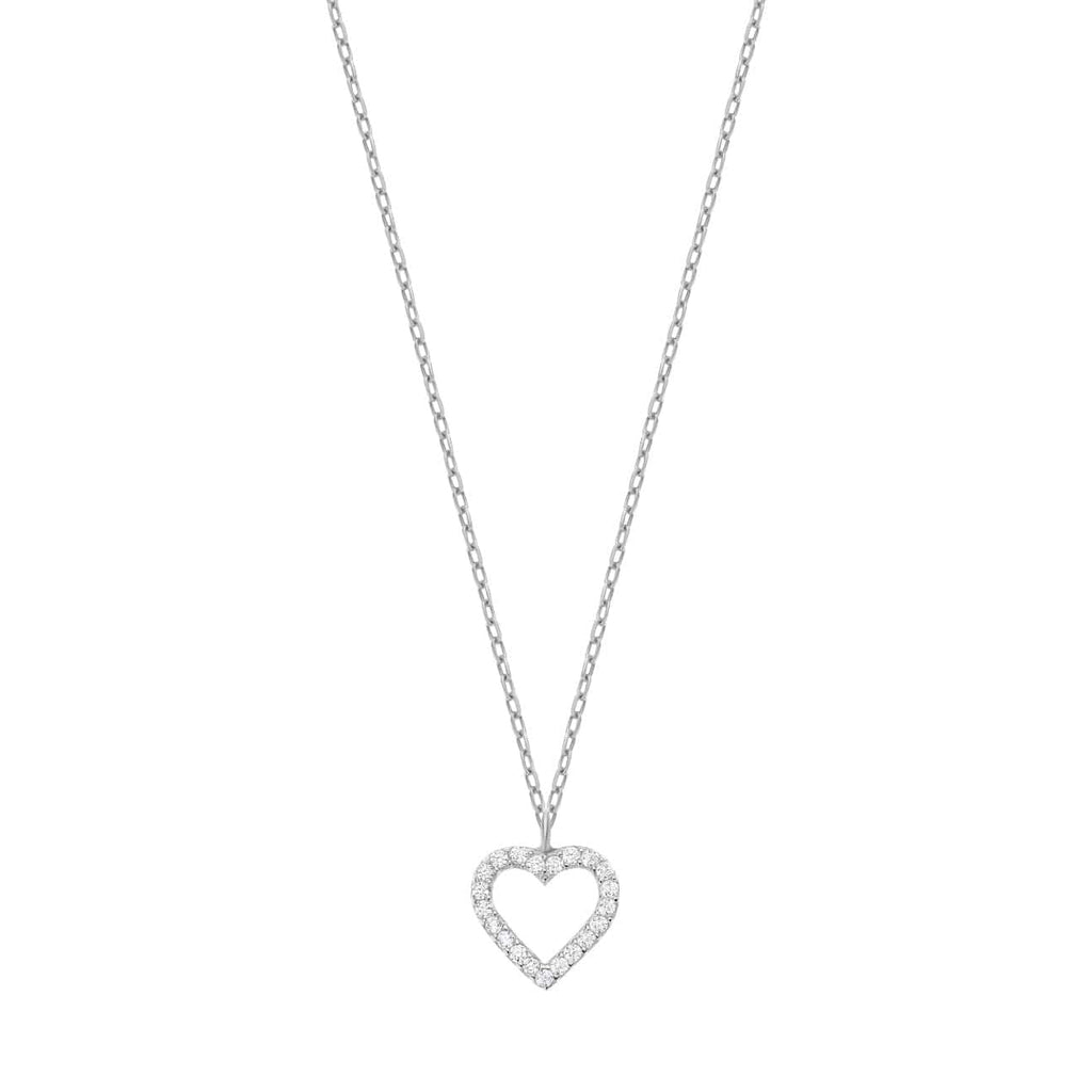 Open Pave Heart Necklace - Silver - Golden Tangerine