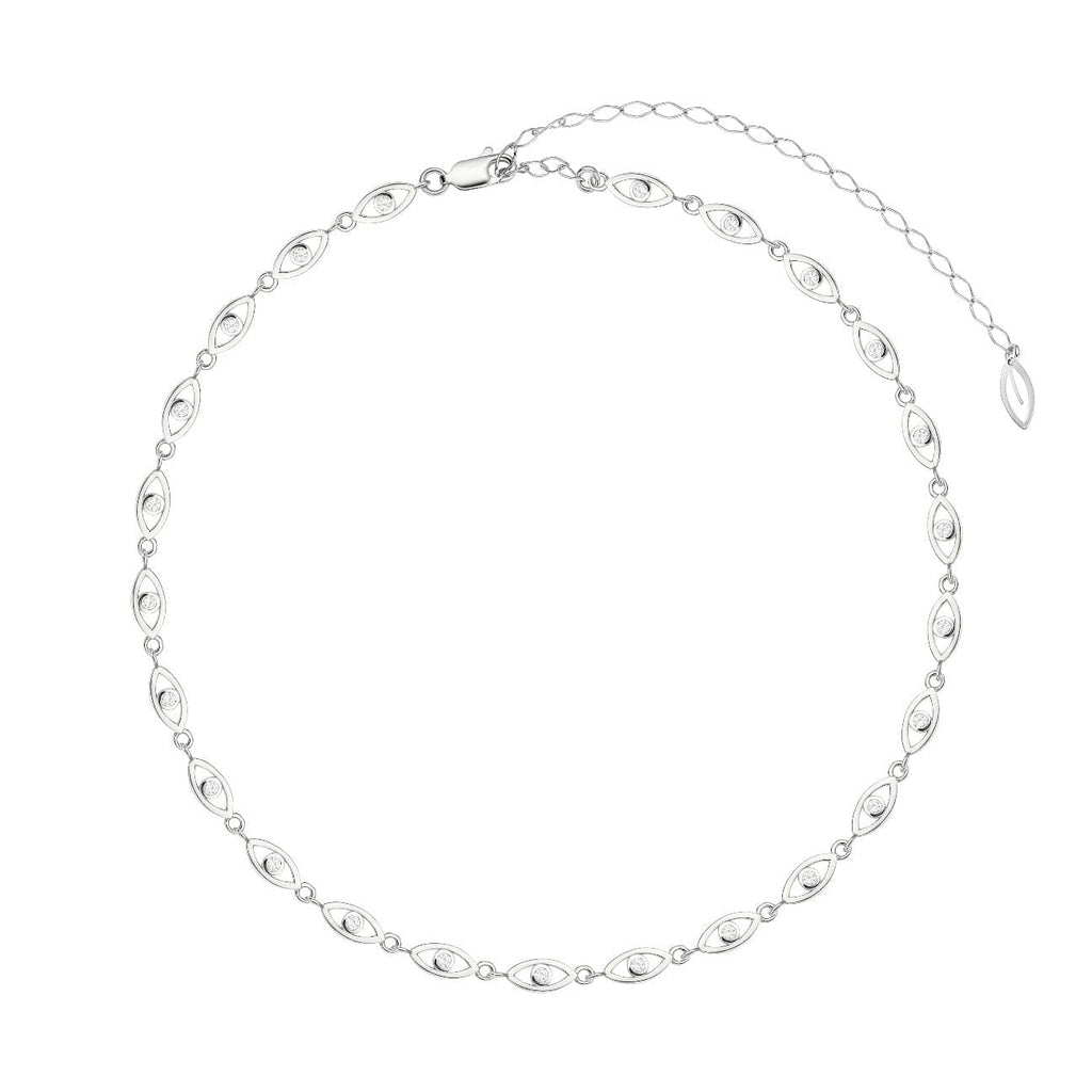 Mini Pave Eyes Choker - Silver - Golden Tangerine
