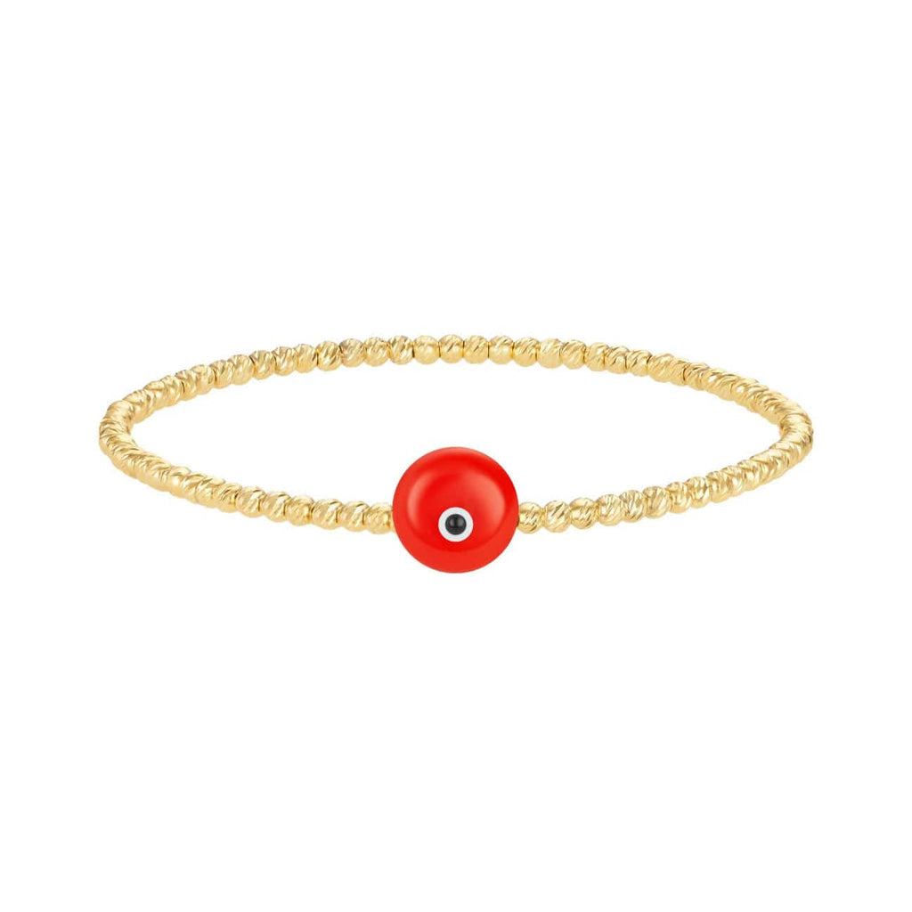 Bead Bracelet with Majestic Evil Eye - Yellow Gold and Coral - Golden Tangerine