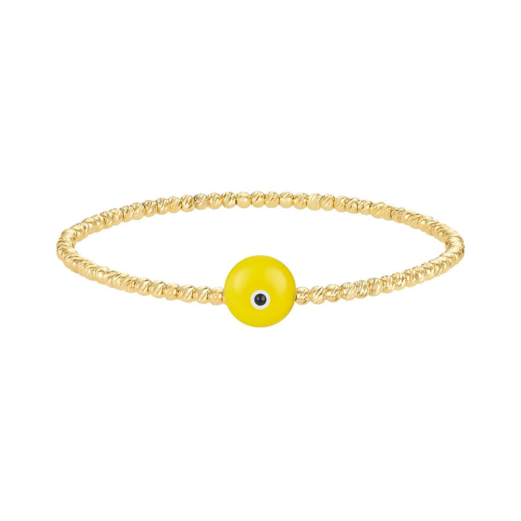 Bead Bracelet with Majestic Evil Eye - Yellow Gold and Yellow - Golden Tangerine
