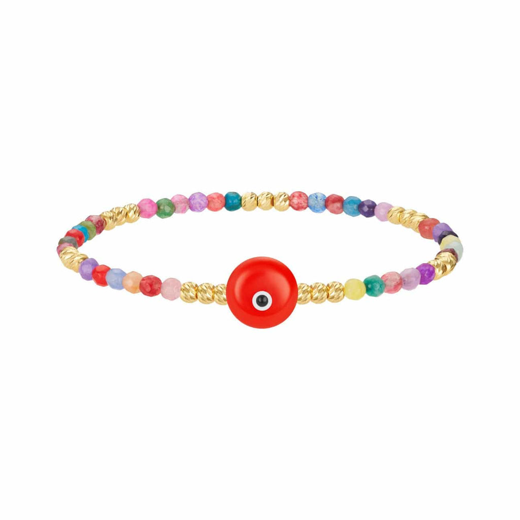Colored Bead Bracelet with Majestic Evil Eye - Coral - Golden Tangerine