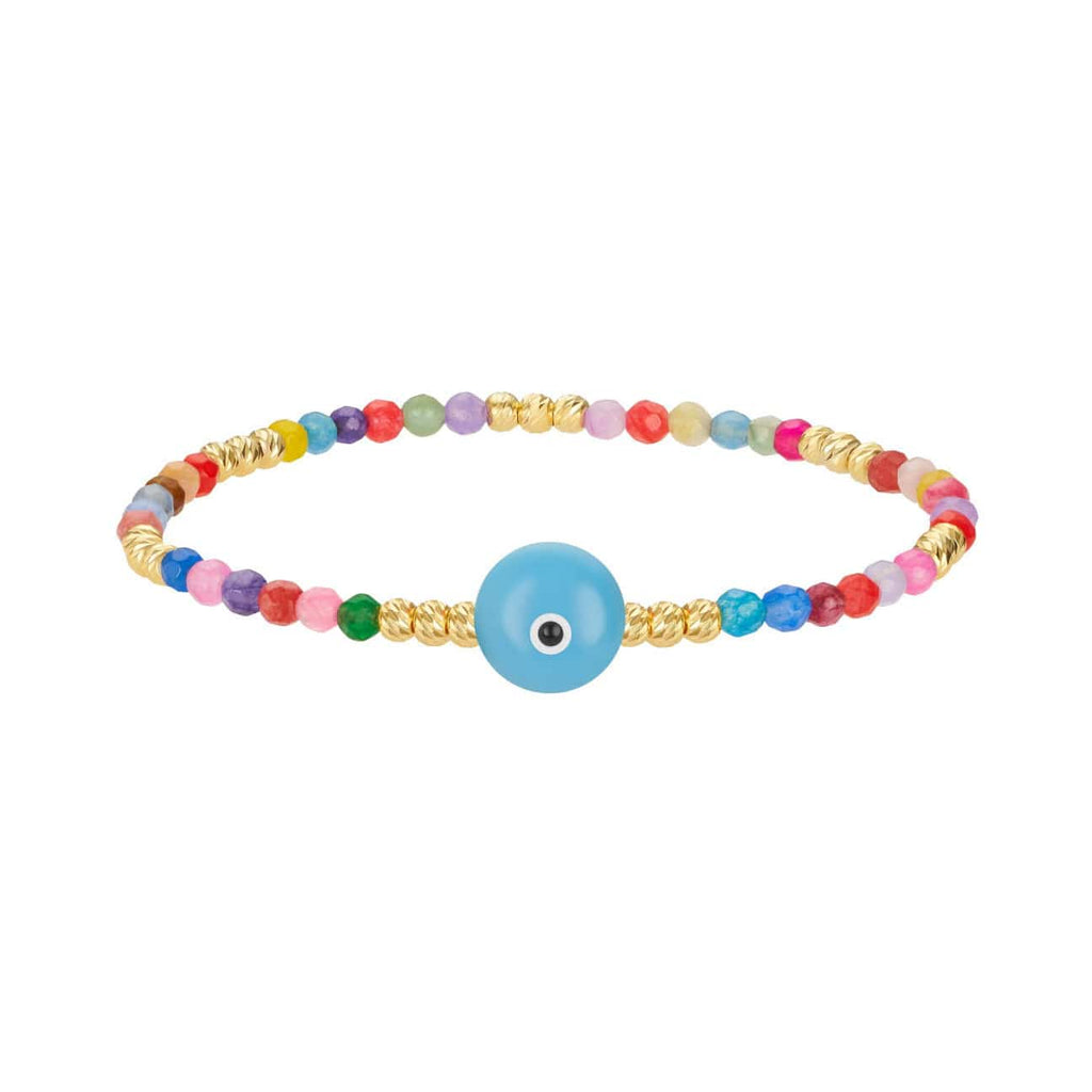 Colored Bead Bracelet with Majestic Evil Eye - Turquoise - Golden Tangerine