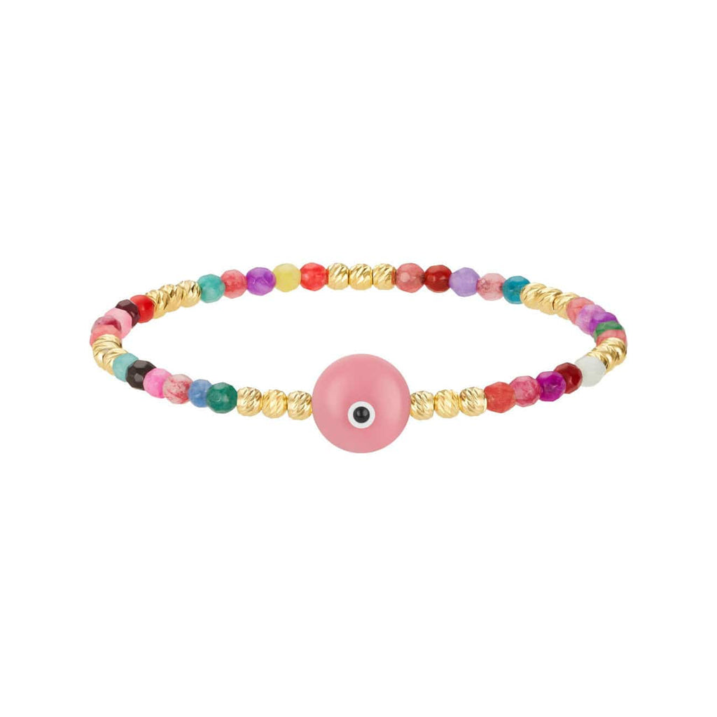 Colored Bead Bracelet with Majestic Evil Eye - Pink - Golden Tangerine