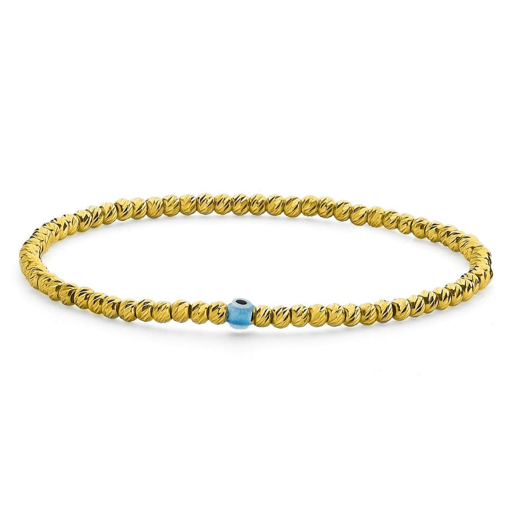 Bead Bracelet with Evil Eye - Yellow Gold and Turquoise - Golden Tangerine
