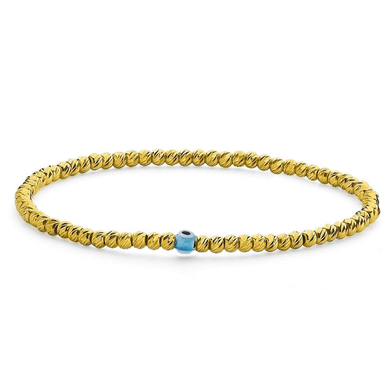 Bead Bracelet with Evil Eye - Yellow Gold & Turquoise