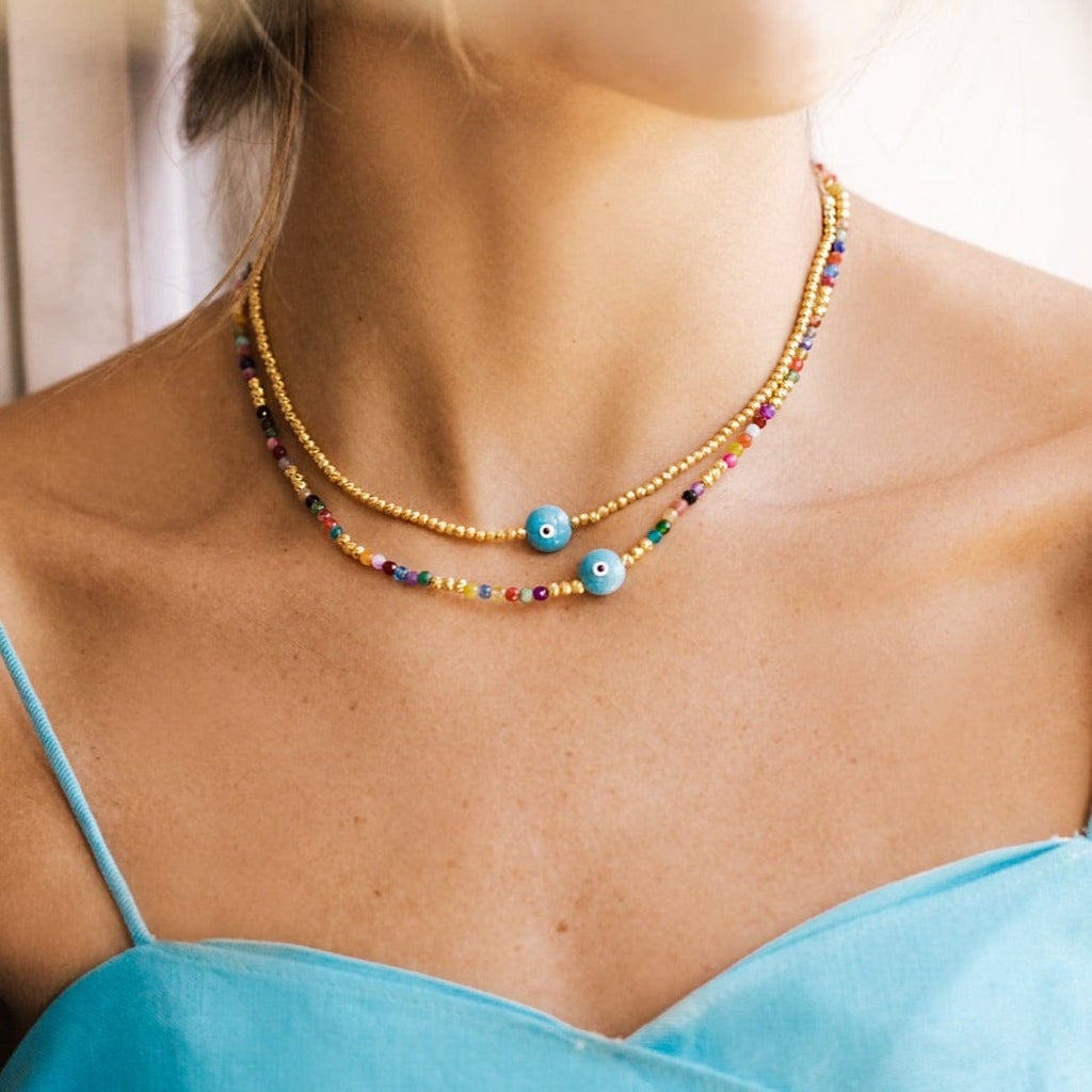 Majestic Evil Eye Bead Choker - Yellow Gold and Turquoise - Golden Tangerine