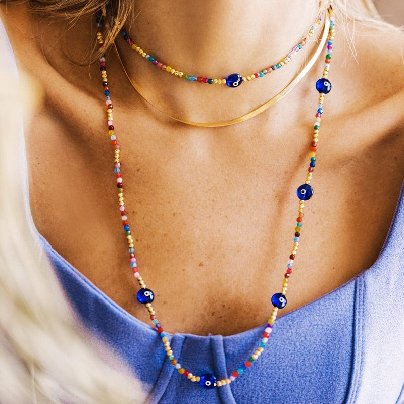 Long Colored Bead Necklace with 7 Majestic Evil Eyes - Navy - Golden Tangerine