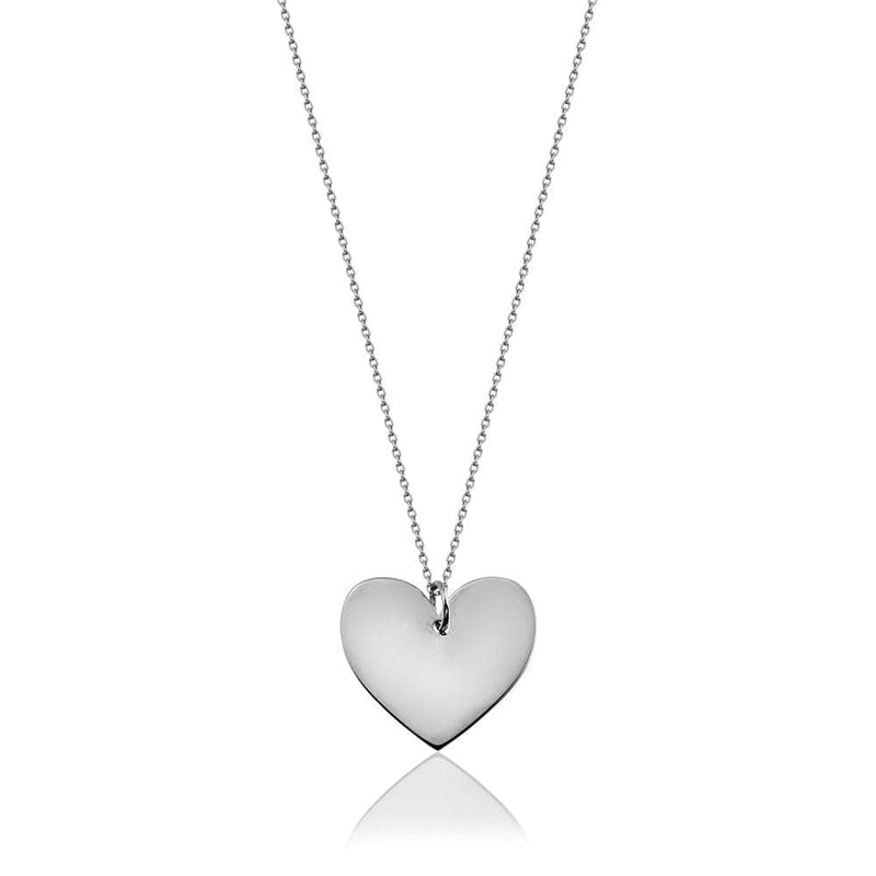 Long Necklace with Heart - Silver